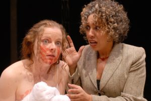 Lesley Ewen as Marcus with Anna Cummer as Lavina in Titus Andronicus